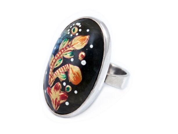Kézzel festett labradorit köves ovál ezüst gyűrű