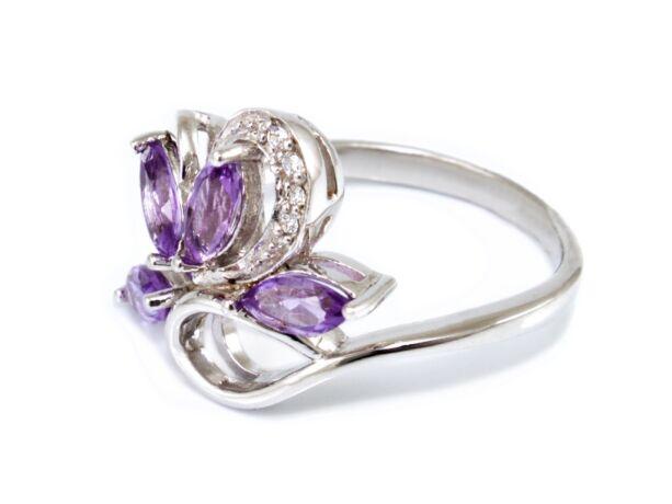 Lila köves virágos ezüst gyűrű
