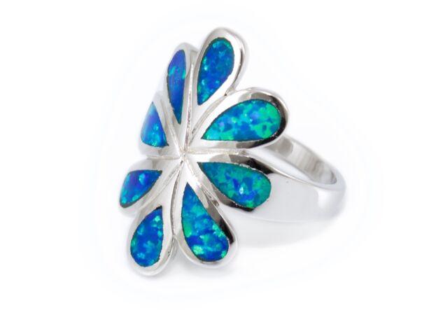 Opálos virágos ezüst gyűrű