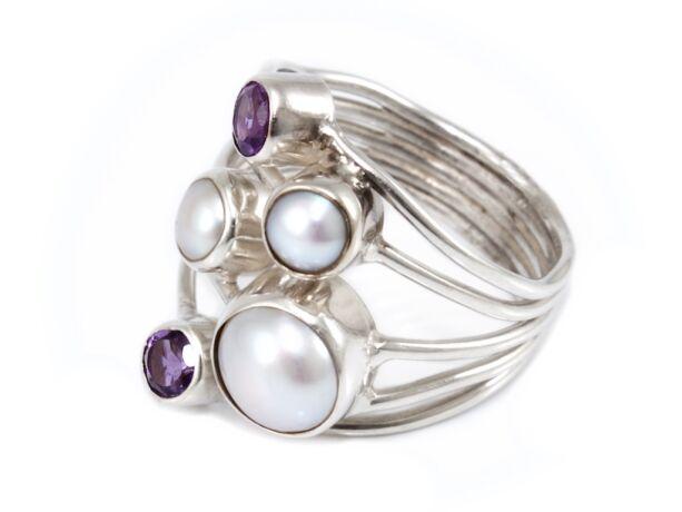 Gyöngyös és lila köves ezüst gyűrű