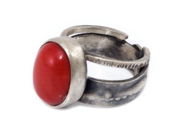 Korallos antikolt kézi készítésű ezüst gyűrű