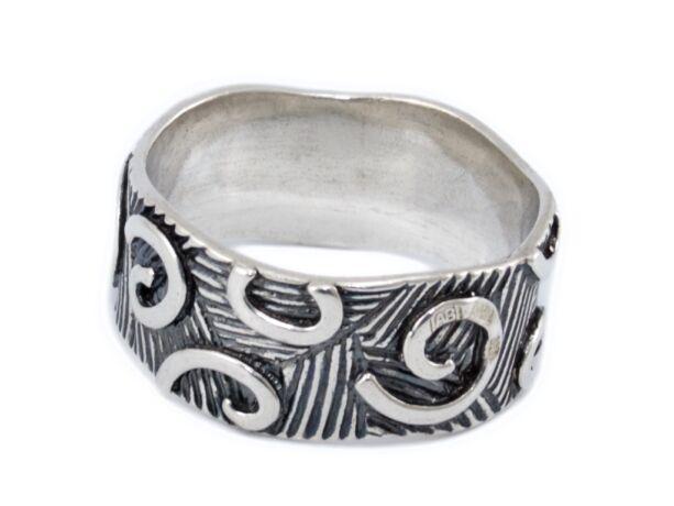 Antikolt mintás ezüst gyűrű
