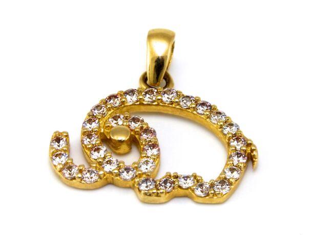 Köves arany elefánt medál
