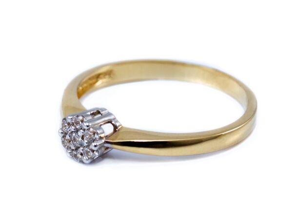 Köves virágos bicolor arany eljegyzési gyűrű