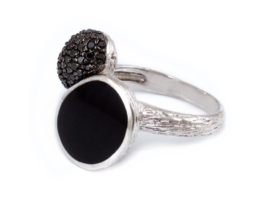 c88768b48 Fekete köves női ezüst gyűrű